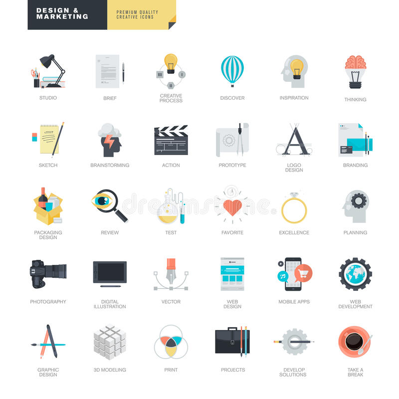 Satz moderne flache Designikonen für Grafik- und Netzdesigner stock abbildung