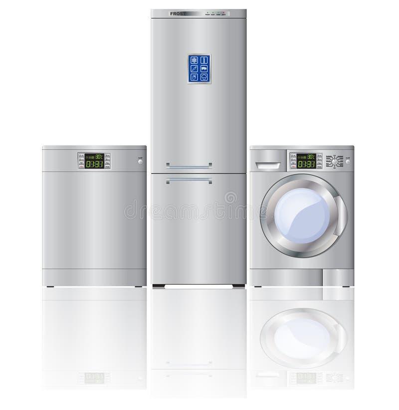 Satz Moderne Haushaltsgeräte Kühlschrank, Spülmaschine Und ...