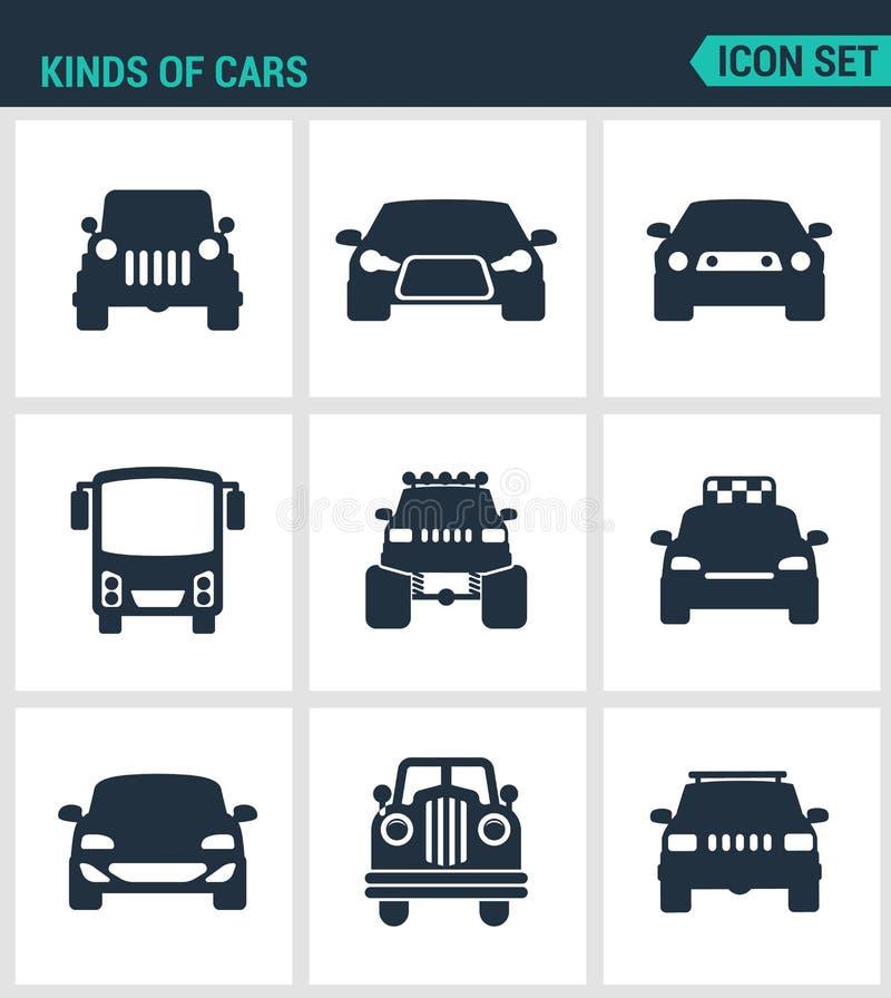 Satz moderne Ikonen Arten von Autos, suv, Auto, Bus, muskulkar, b-gfut Taxi biznes avtomobil retrocars Schwarze Zeichen stock abbildung
