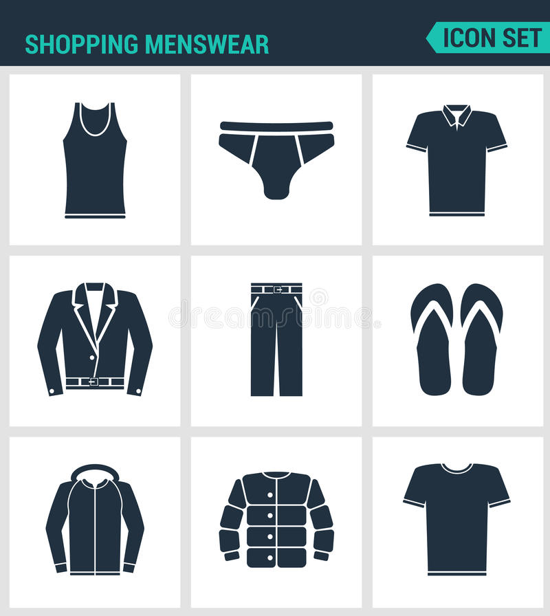 Satz moderne Ikonen Einkaufsmännerkleidung T-Shirt, Röcke, Hosen, Turnschuhe, Lederjacke, Hemd, Jacke Schwarze Zeichen vektor abbildung