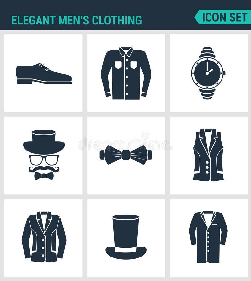 Satz moderne Ikonen Elegante Kleidungsschuhe der Männer s, Hemd, Hutuhren, Gläser, Schmetterling, Weste, Jacke, Hut, Kegelmantel stock abbildung