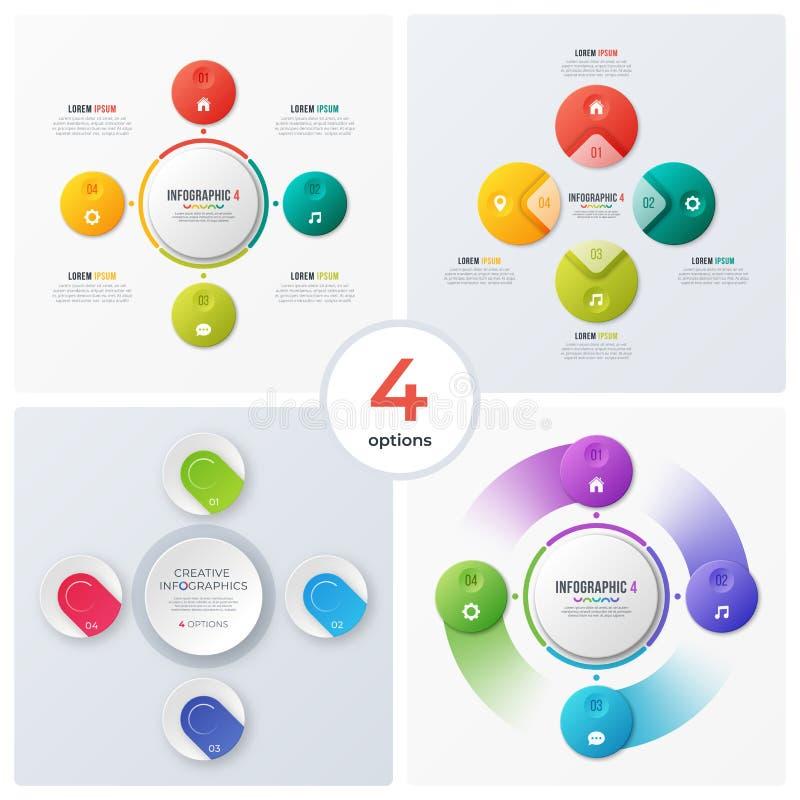 Satz moderne Kreisdiagramme, infographic Designe, Sichtbarmachung lizenzfreie abbildung