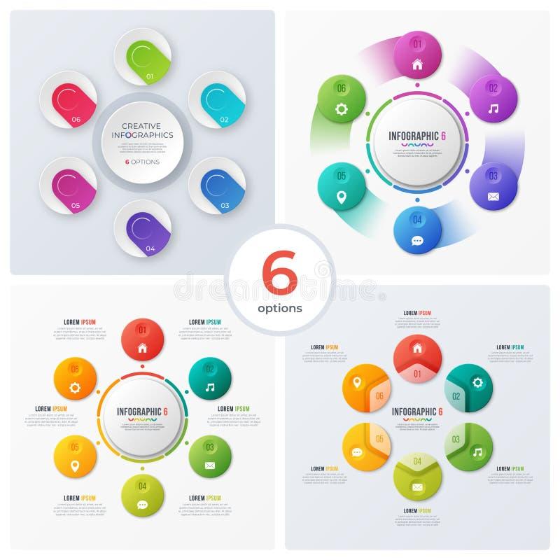 Satz moderne Kreisdiagramme, infographic Designe, Sichtbarmachung stock abbildung