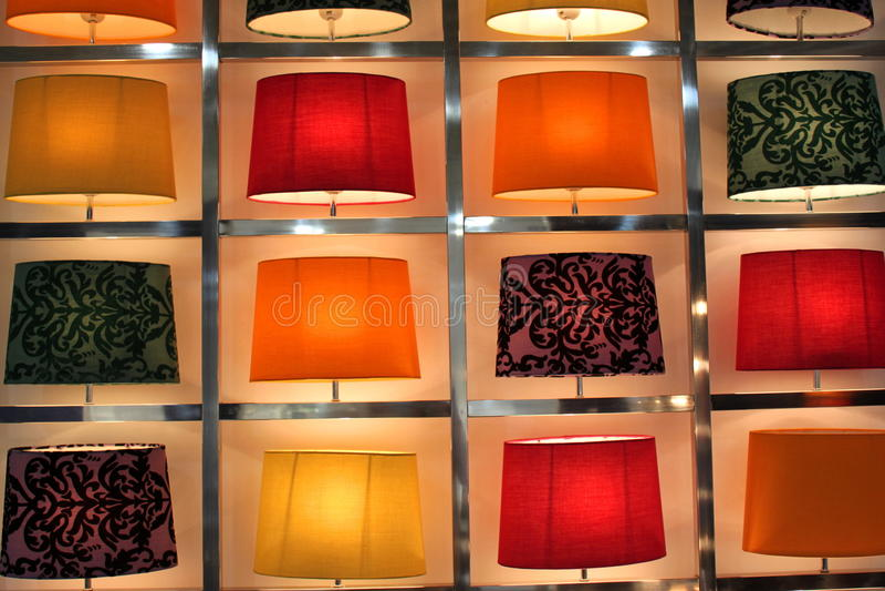 Satz moderne Tischlampen stockfoto