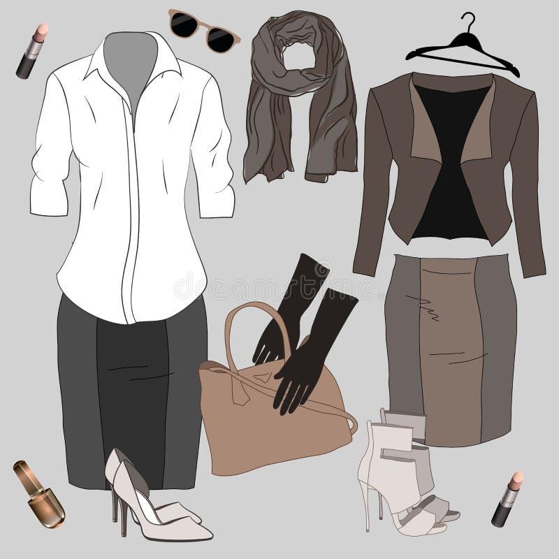 Satz modische Frauen ` s Kleidung Ausstattung der Frauenjacke, stock abbildung