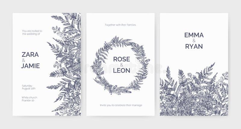 Satz modische Hochzeitseinladungsschablonen verziert mit eleganten Farnen, wilden Kräutern und krautigen Pflanzen auf Weiß vektor abbildung