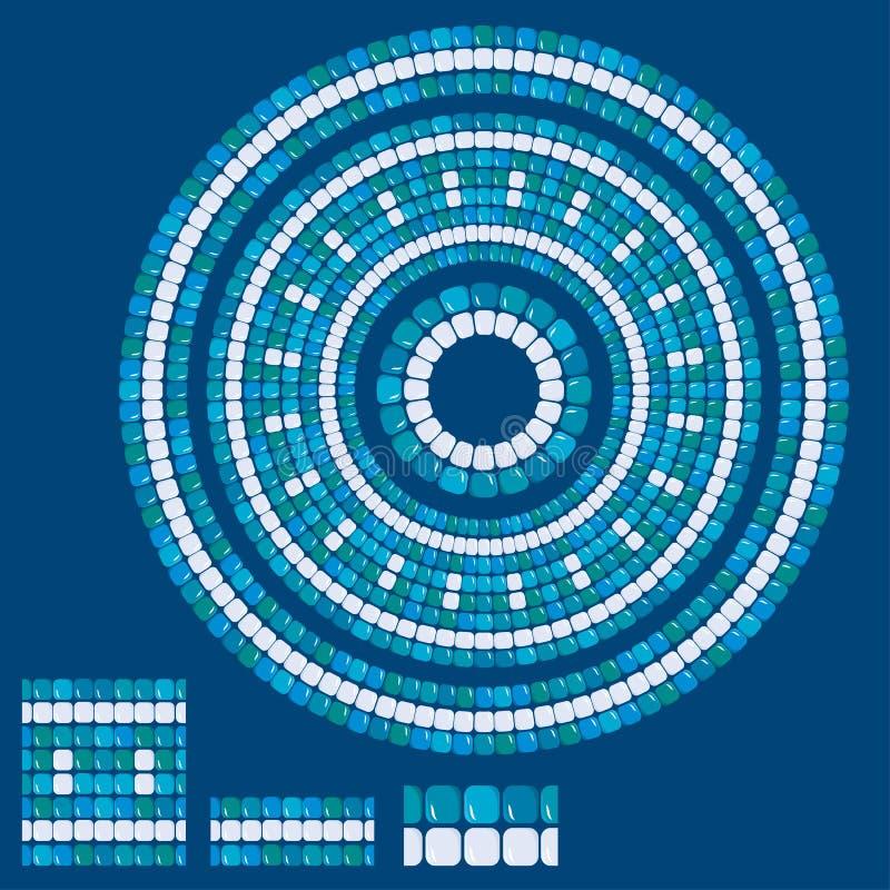Satz Mosaikmuster - blaue keramische runde Rahmen - klassisches geo vektor abbildung