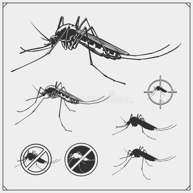 Satz Moskitoschattenbilder lokalisiert auf weißem Hintergrund Moskitoausweise, -zeichen und -ikonen vektor abbildung