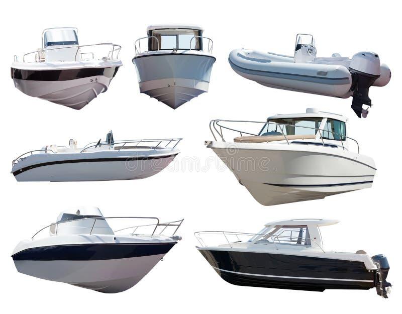 Satz Motorboote. Lokalisiert über Weiß lizenzfreie stockfotografie