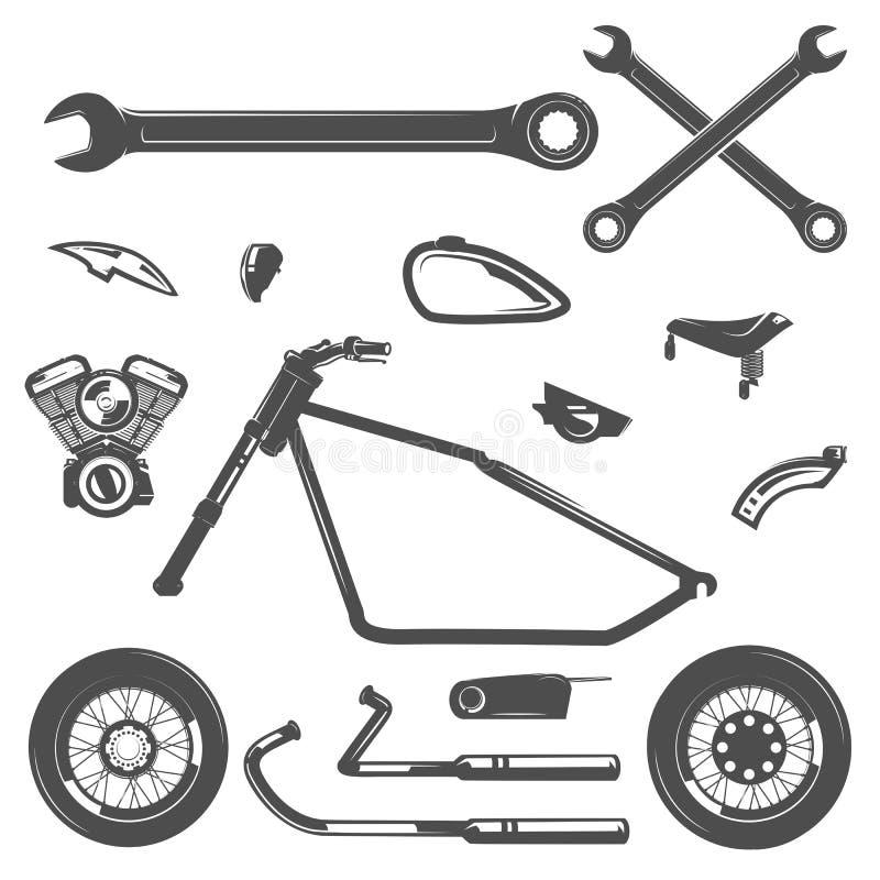Satz Motorradweinleseartembleme, -logo, -tätowierung und -drucke stock abbildung