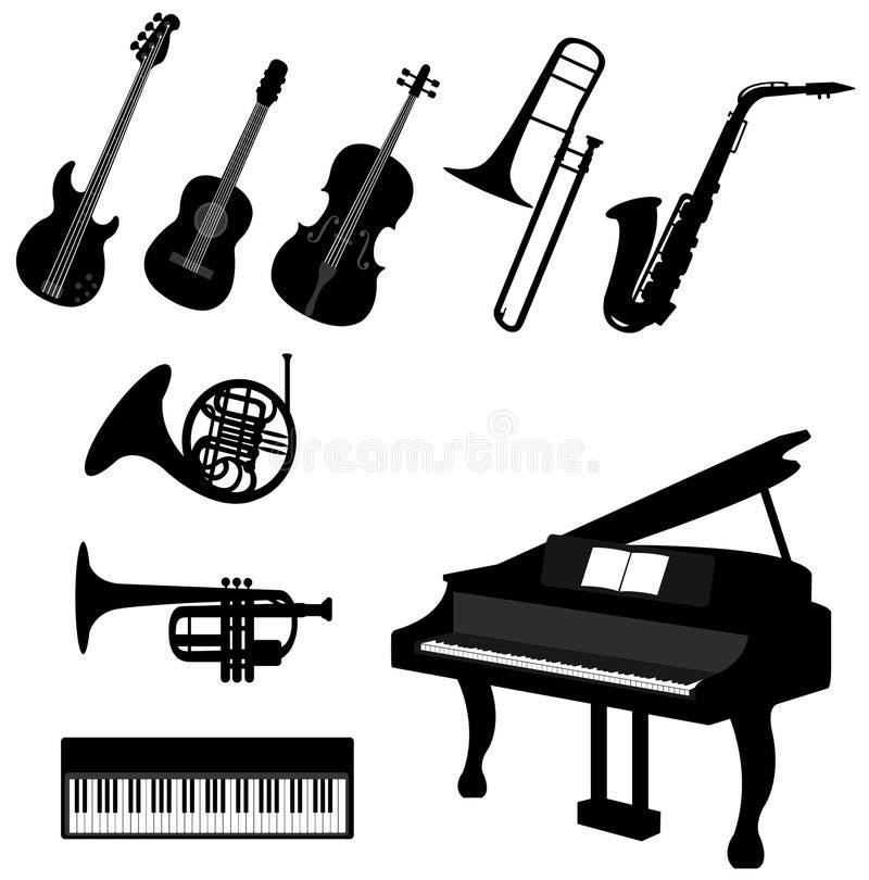 Satz Musikinstrumentikonen des Schattenbildes lizenzfreie abbildung