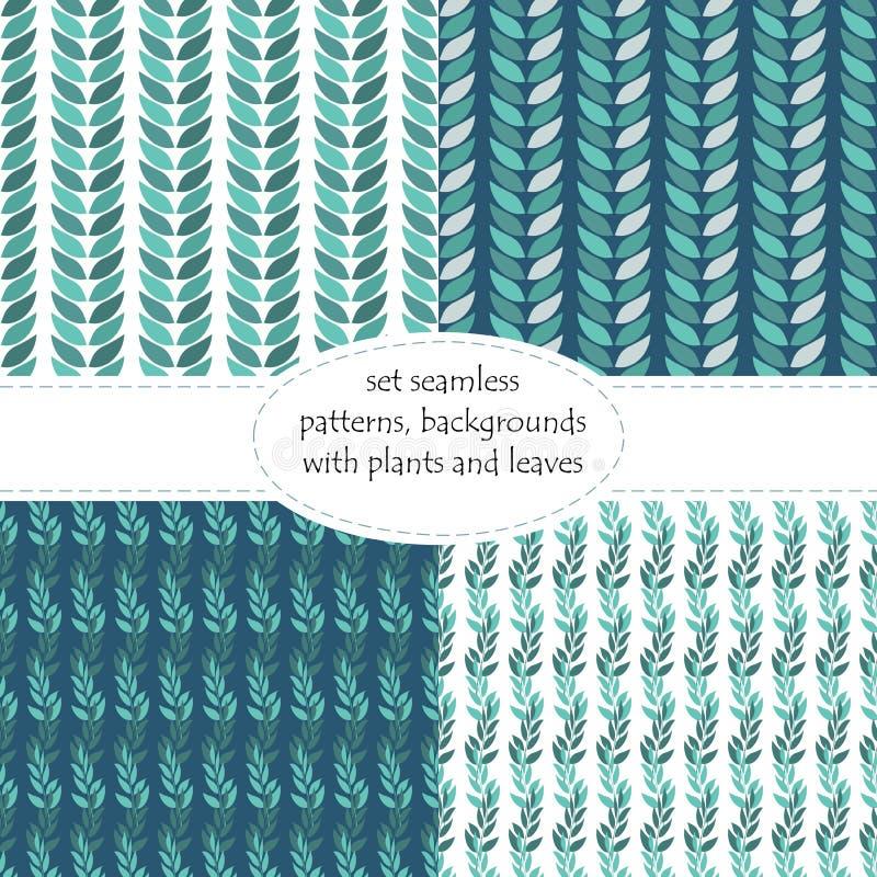 Satz nahtlose Blumenhintergründe, Muster von Anlagen, die Blätter und Niederlassungen von Blättern stock abbildung