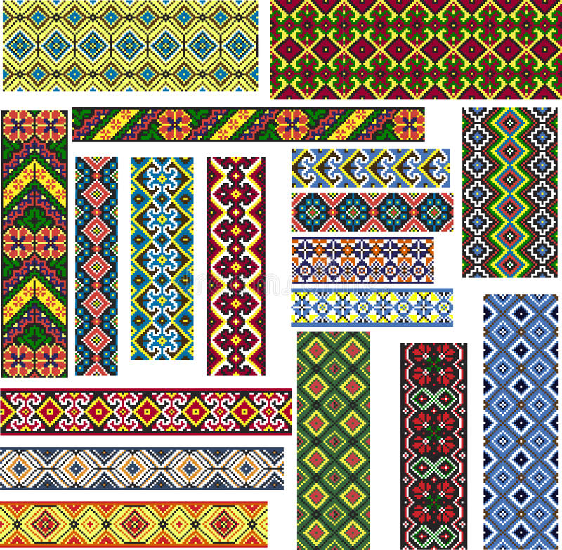 Satz nahtlose ethnische Muster für Stickerei-Stich vektor abbildung
