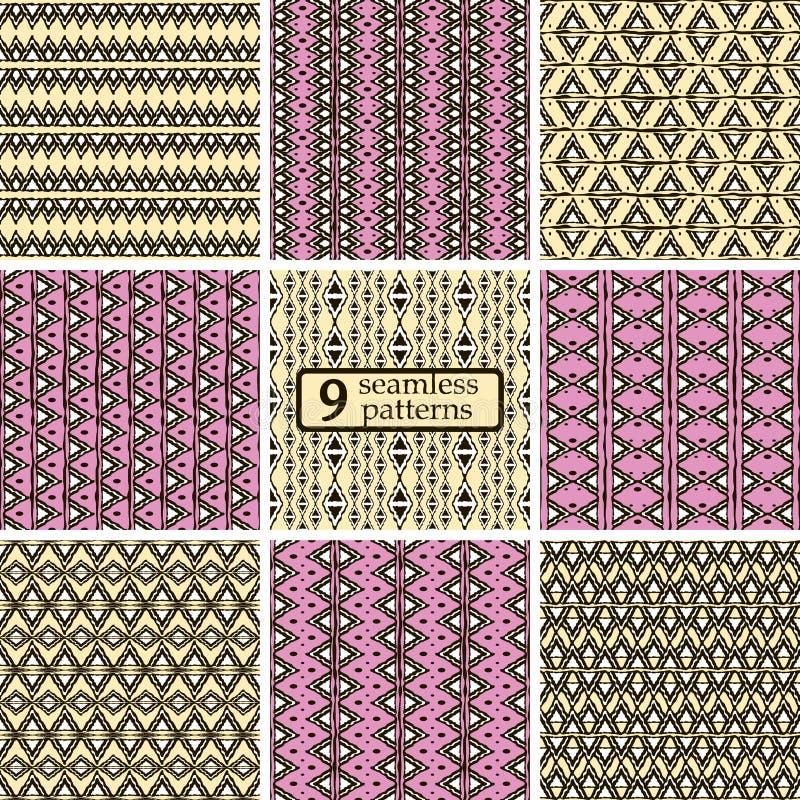 Satz nahtlose farbige Muster mit ethnischen Motiven stock abbildung