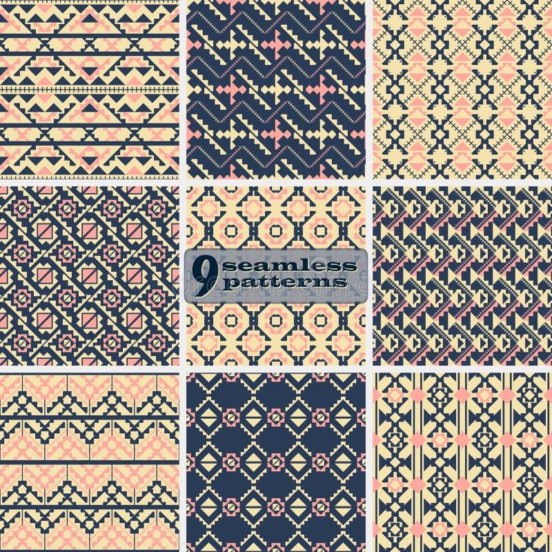 Satz nahtlose geometrische Muster mit ethnischen Motiven lizenzfreie abbildung