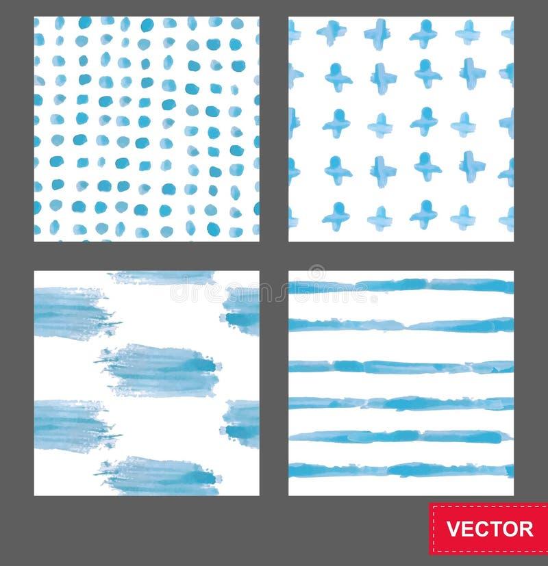 Satz nahtlose Hintergründe des Vektors von Farbenabstrichen Hand gezeichnetes abstraktes nahtloses Muster stock abbildung