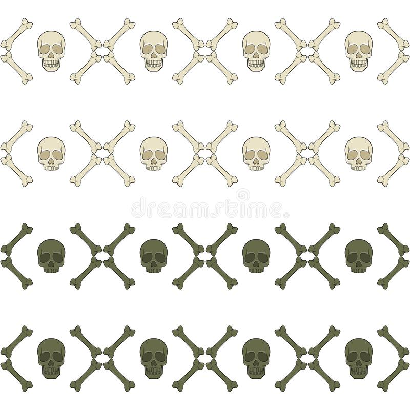 Satz nahtlose horizontale Muster mit dem Schädel und den Knochen Farbige Illustration des Vektors vektor abbildung