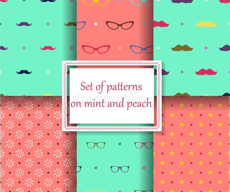 Satz nahtlose Muster auf Minzen- und Pfirsichfarben stock abbildung