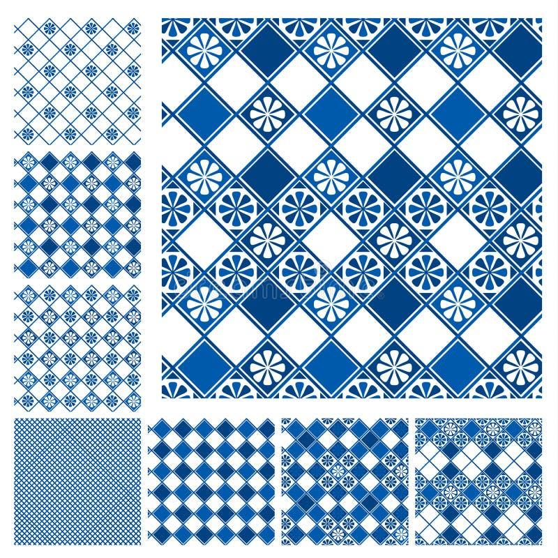 Satz nahtlose Muster - blaues keramisches stock abbildung