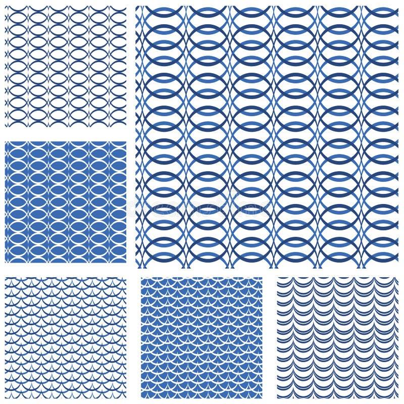 Satz nahtlose Muster - Blauwellen vektor abbildung