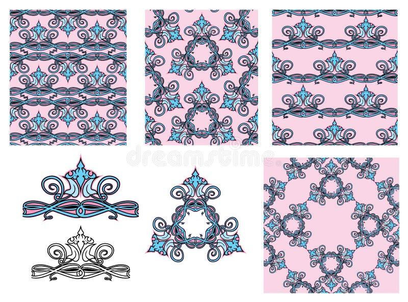 Satz nahtlose Muster - Blumenverzierungen und Elemente lizenzfreie abbildung