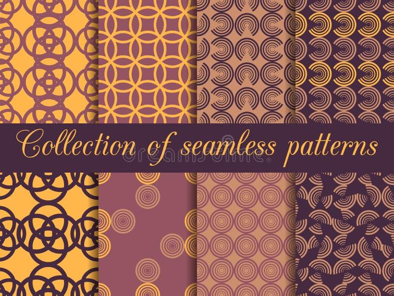 Satz nahtlose Muster in der Art- DecoArt Nahtloser Hintergrund lizenzfreie abbildung