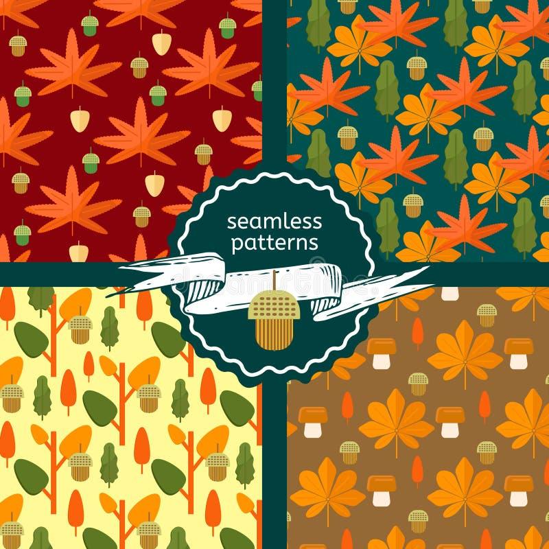 Satz nahtlose Muster des Herbstlaubs stock abbildung