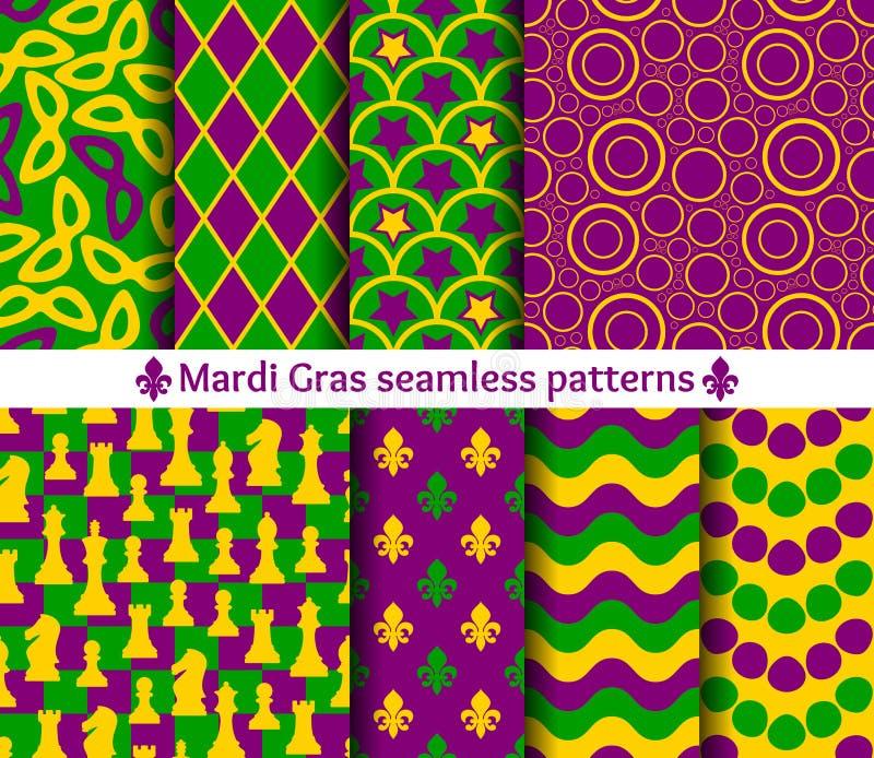 Satz nahtlose Muster für Mardi Gras lizenzfreie abbildung