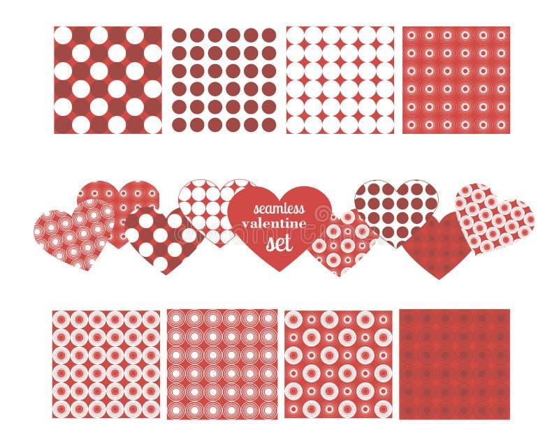 Satz nahtlose Muster für Valentinsgruß ` s Tag stock abbildung
