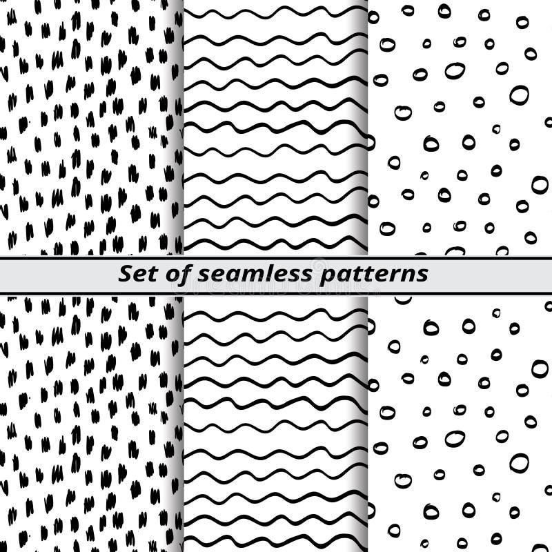 Satz nahtlose Muster gemalte Hände vektor abbildung