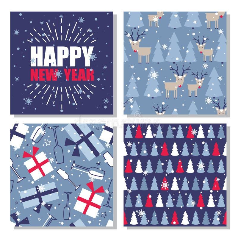 Satz nahtlose Muster mit Weihnachtsbäumen, Schnee, Rotwild stock abbildung