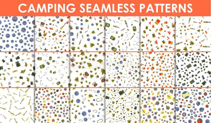 Satz nahtlose Muster und Beschaffenheiten Campingzelt- und Feuerikonen Wandern von Elementen auf weißem Hintergrund lizenzfreie abbildung