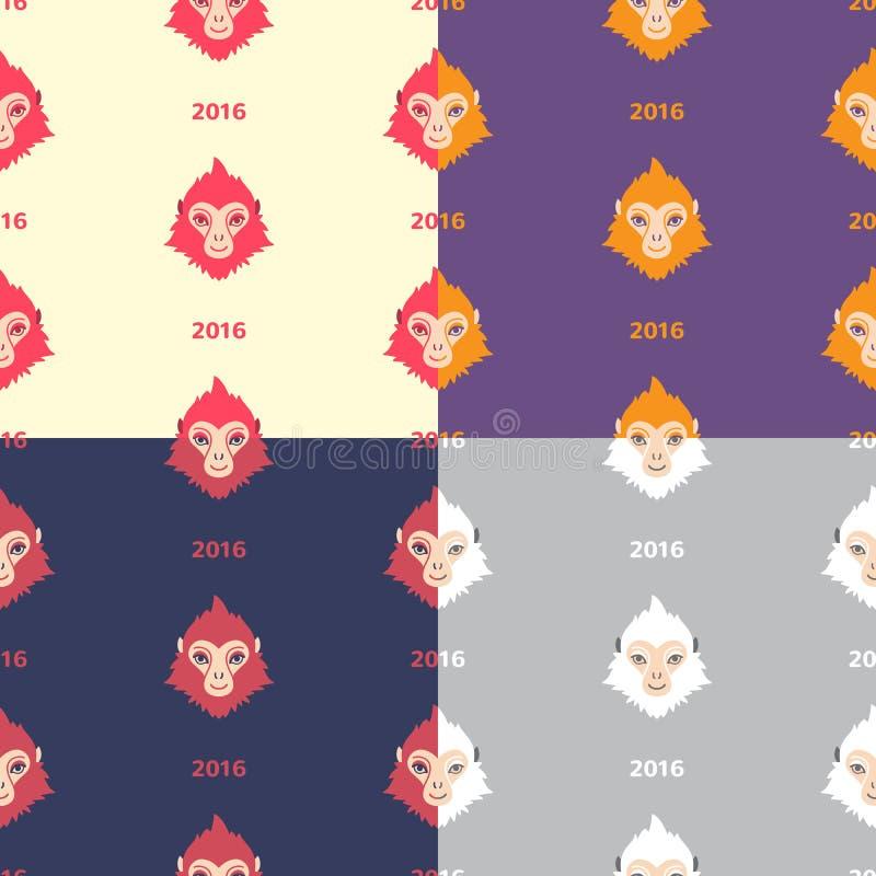 Satz nahtlose Vektormuster des flachen des Designs Affen des neuen Jahres lizenzfreie abbildung