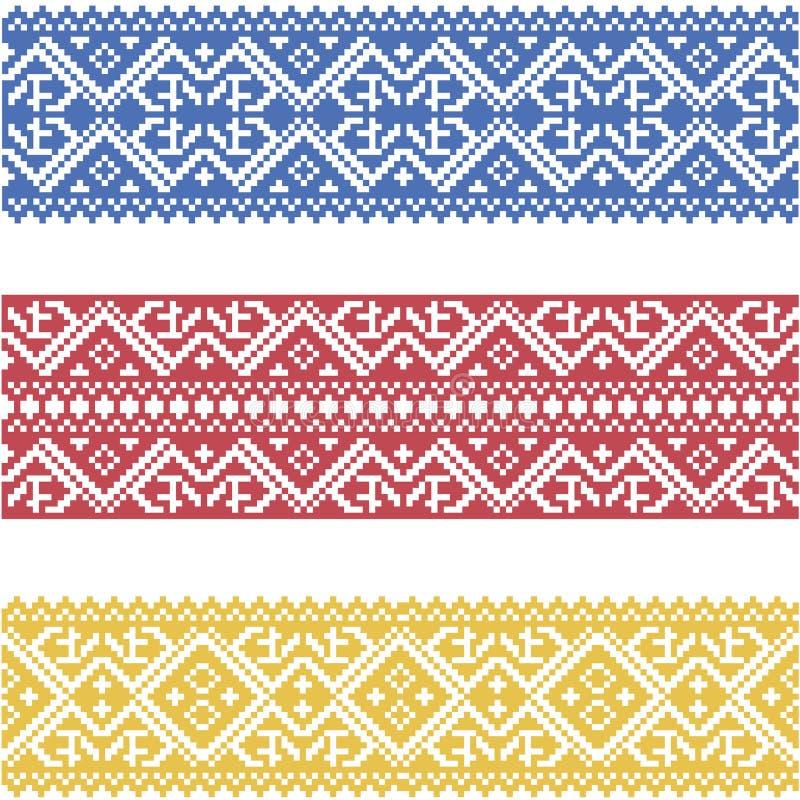 Satz nahtlose verzierte Grenzen basiert auf ukrainischer Stickerei vektor abbildung