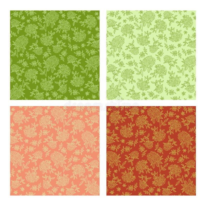 Satz nahtlose Verzierungen für einfarbiges Gewebe Pfingstrosen und Flieder mit Blättern lizenzfreie abbildung