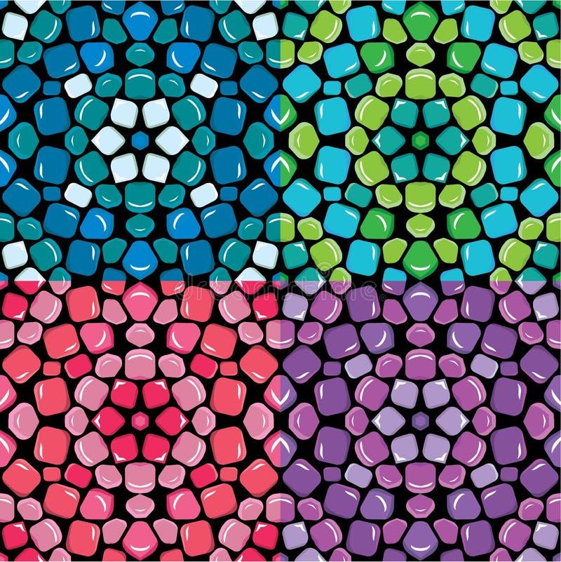 Satz nahtloses Mosaikmuster- - blau, Grünem, rosa und Purpurrotemc lizenzfreie abbildung