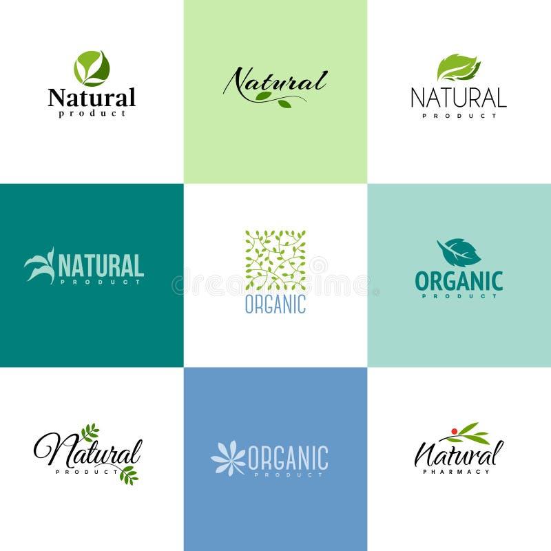 Satz natürlichen und Bioproduktlogoschablonen Blätter stock abbildung