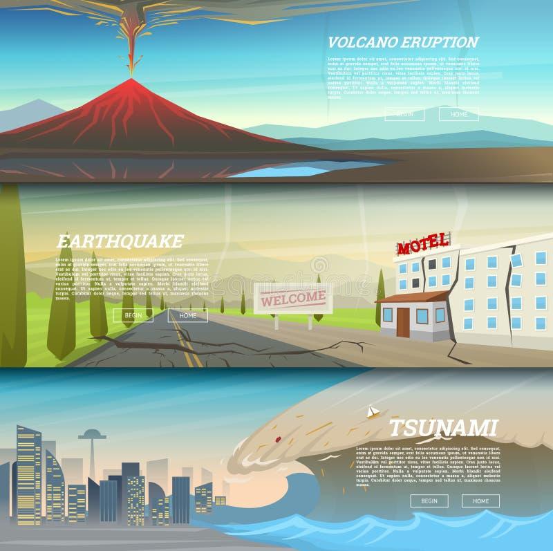 Satz Naturkatastrophe oder Unglücke Katastrophen-und Krise Hintergrund Realistischer Tornado oder Sturm, Blitzschlag lizenzfreie abbildung