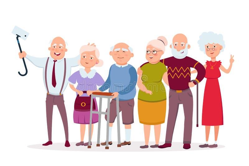 Satz nette ältere Leutehippies, die Spaß erfassen und haben, alte Männer und Frauen lassen selfie vector Zeichentrickfilm-Figuren stock abbildung