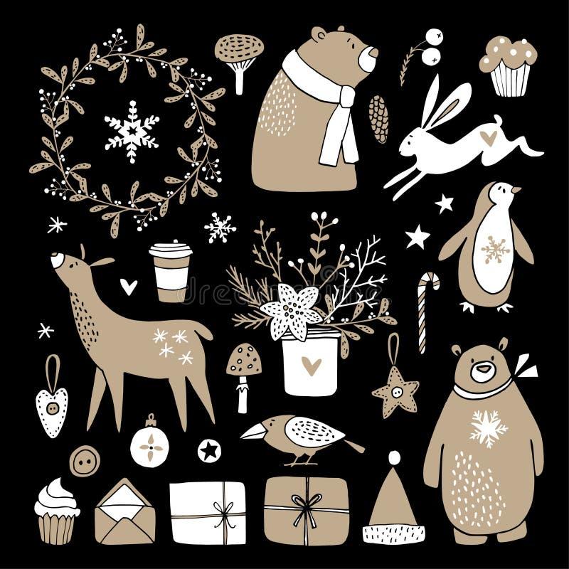 Satz nette Gekritzelskizzen Weihnachtscliparte des Bären, Häschen, Ren, Geschenkboxen, Pinguin, Winterblumen und stock abbildung
