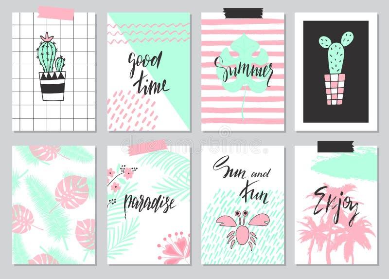 Satz nette Hand gezeichnete Sommerkarten, Hintergrund Feiertag, Reise, Ferienthema Tapete, Flieger, Einladung, Poster, Schablonen stock abbildung