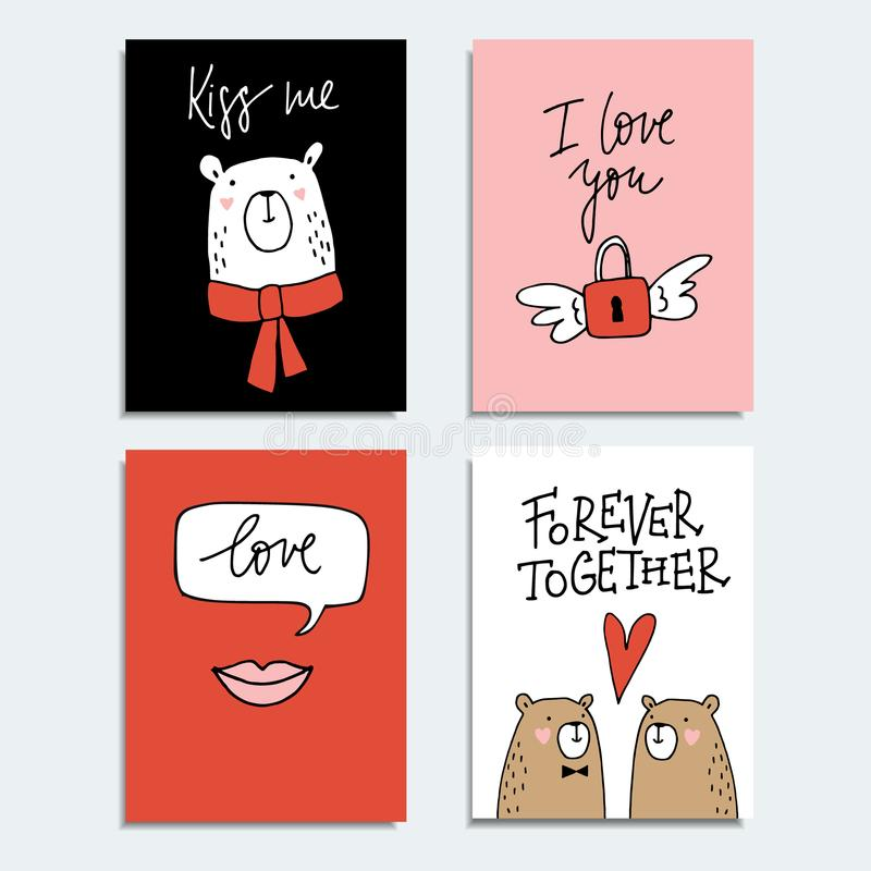 Satz nette Hand gezeichnete Valentinsgrußtages- oder -Hochzeitskarten, Einladungen mit Paaren von Bären, Lippen und Fliegen padlo lizenzfreie abbildung