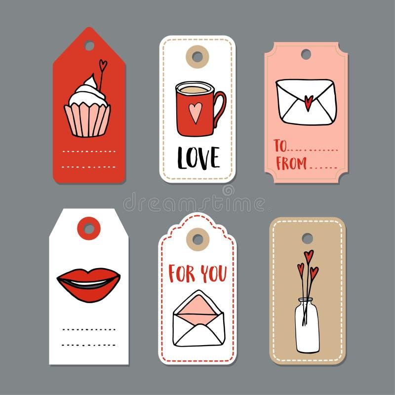 Satz nette Hand gezeichnete Valentinsgrußtageskarten, Geschenk etikettiert mit Gekritzelskizzen-Liebessymbolen lizenzfreie abbildung