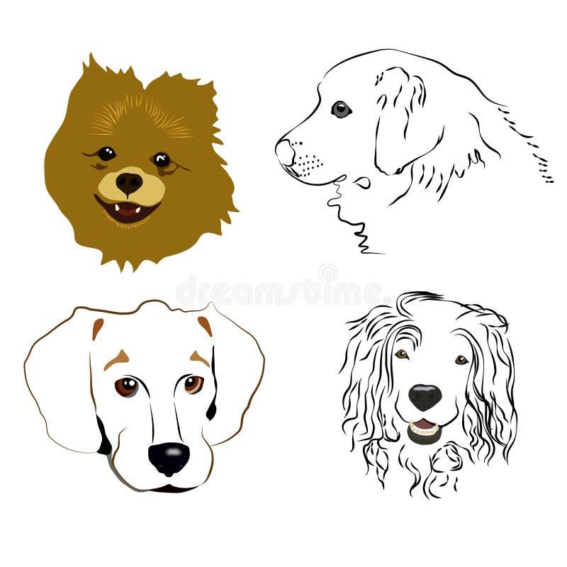 Satz nette Hundeprofile und -schattenbilder auf einem weißen Hintergrund lizenzfreie stockfotografie