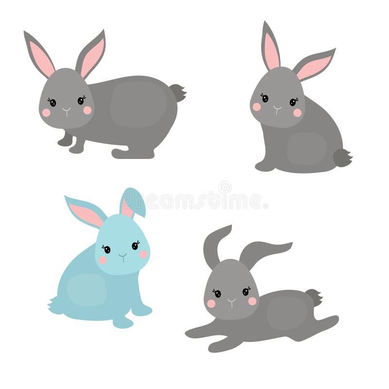 Download Satz nette Kaninchen vektor abbildung. Illustration von stimmung - 96926250