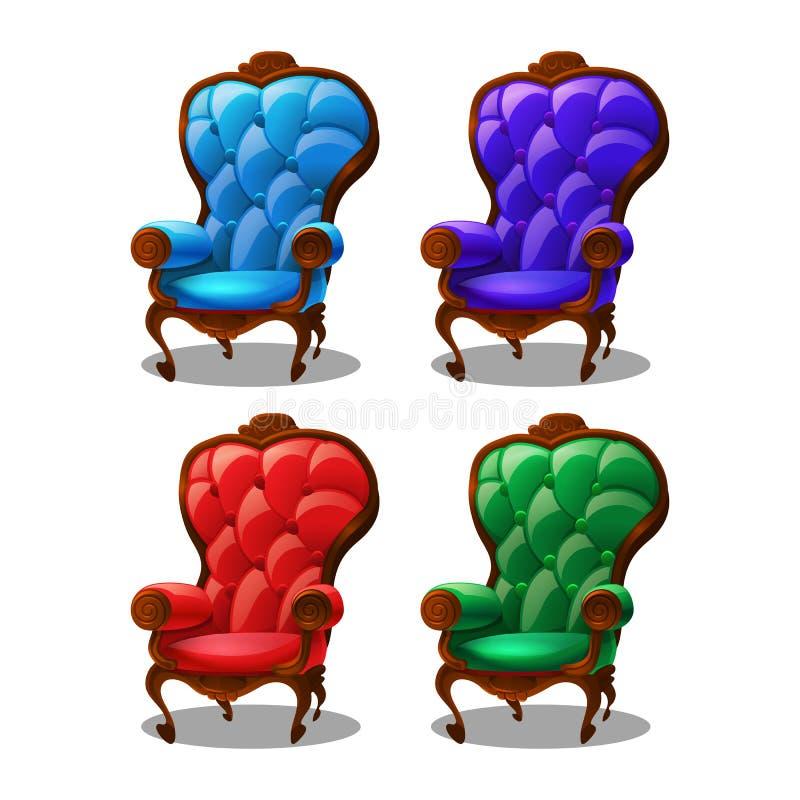Satz nette Karikatur farbige Weinleselehnsessel lokalisiert auf weißem Hintergrund lizenzfreie abbildung