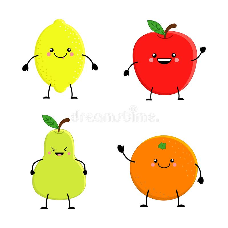 Satz nette Karikaturfrucht Orange Apfelbirne der Zitrone Vektor illu lizenzfreie abbildung