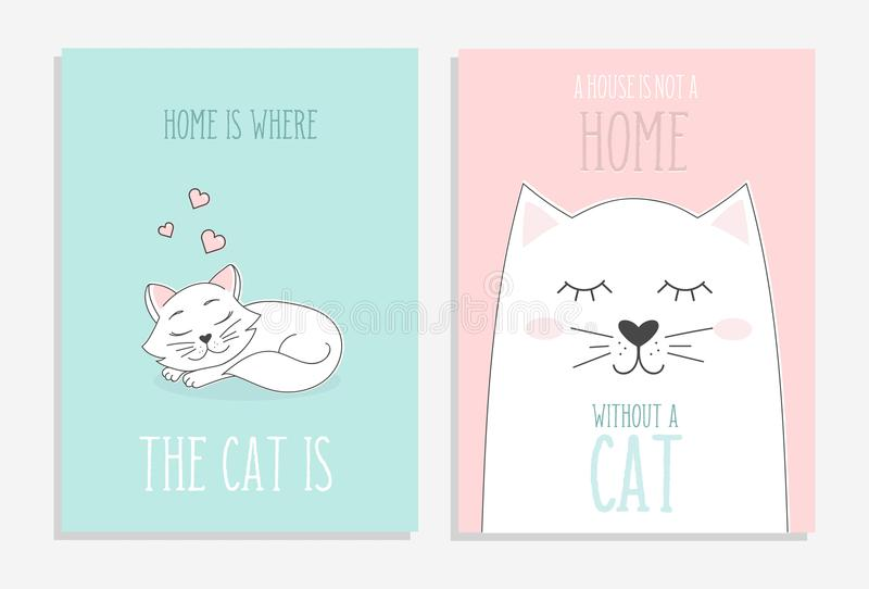 Satz nette Karten mit Hand gezeichneten Katzen Haus ist, wo die Katze ist lizenzfreie abbildung