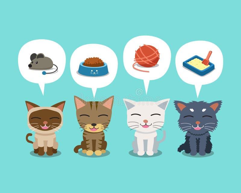 Satz nette Katzen und Rede der Zeichentrickfilm-Figur sprudelt mit Zubehör vektor abbildung