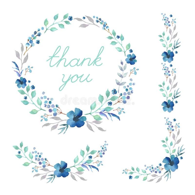 Satz nette Retro- Blumen vereinbarte UNO eine Form des Kranzes, der für Heiratseinladungen und Glückwunschkarten perfekt ist Satz stock abbildung